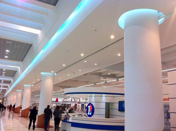 Réalisations savoir-faire staff plafond contemporain centre commercial