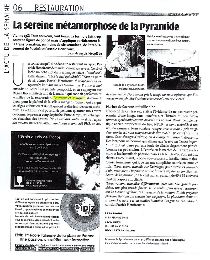 Article La Pyramide L'hôtellerie Restauration
