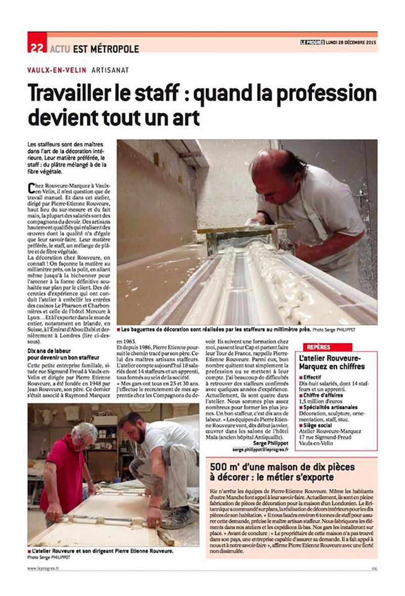 Article Le Progrès artisanat