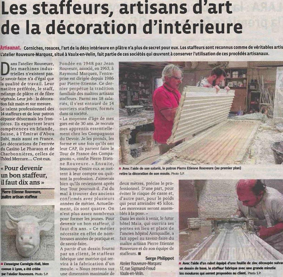 Article le progrès Lyon et sa région Les staffeurs et la déco d'intérieure