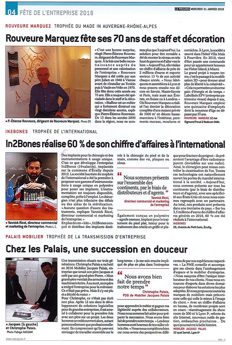 Article Le progrès Trophée made in Auvergne Rhône Alpes