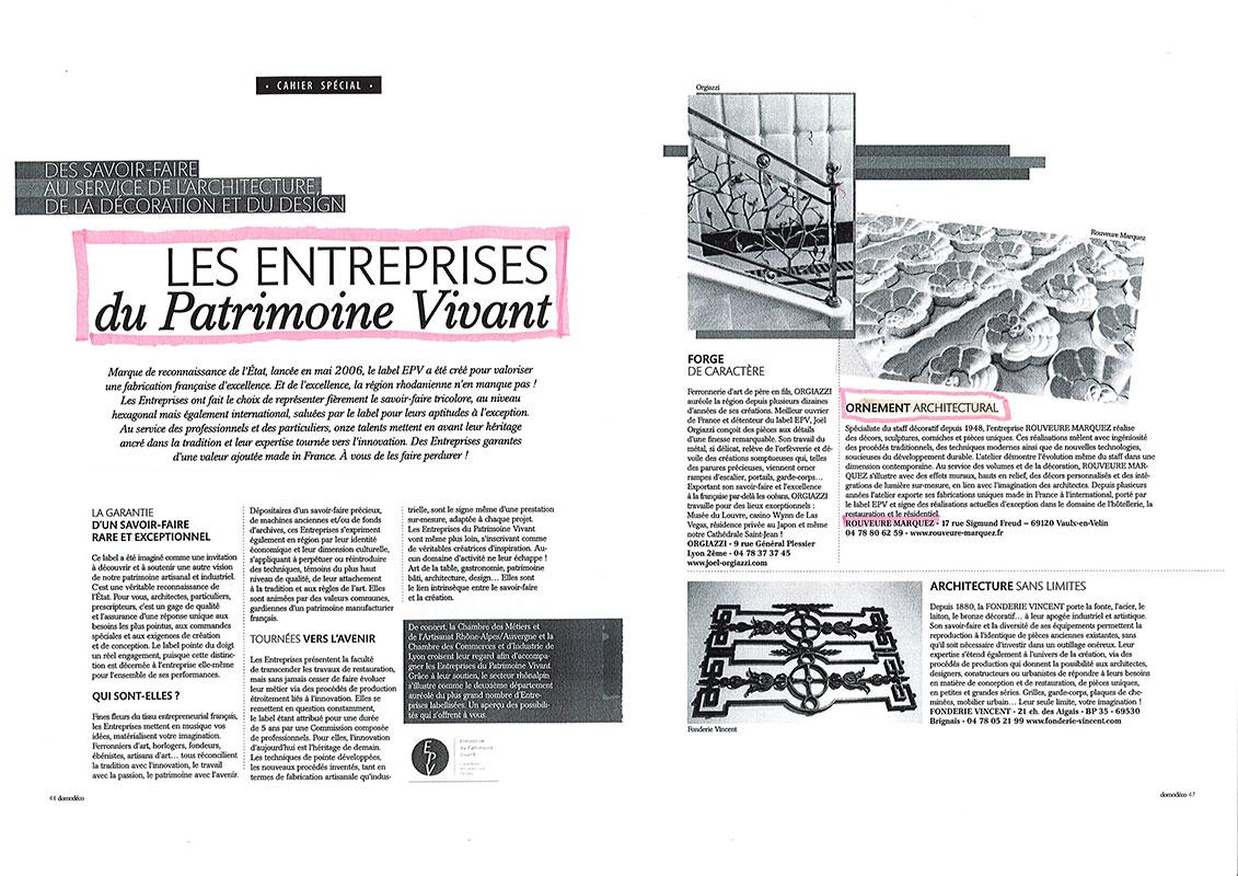 Article Domodeco Les entreprises du Patrimoine Vivant
