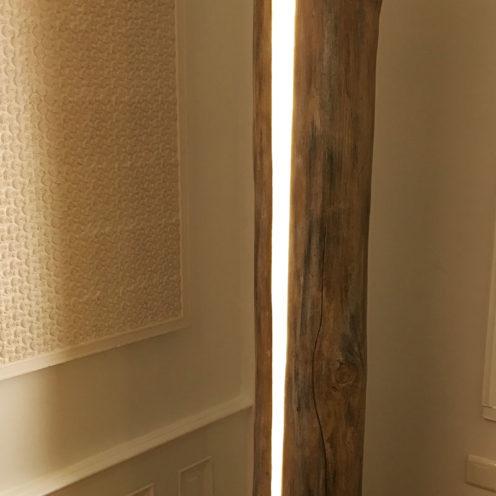 arbre lumineux en staff imitation bois