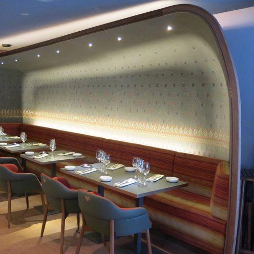 Alcôve en staff restaurant Coeur de megève par la Maison Rouveure Marquez