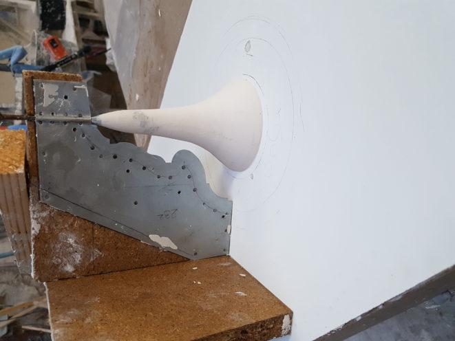 Calibre en zinc pour fabrication d'un voûte en staff par la Maison Rouveure Marquez