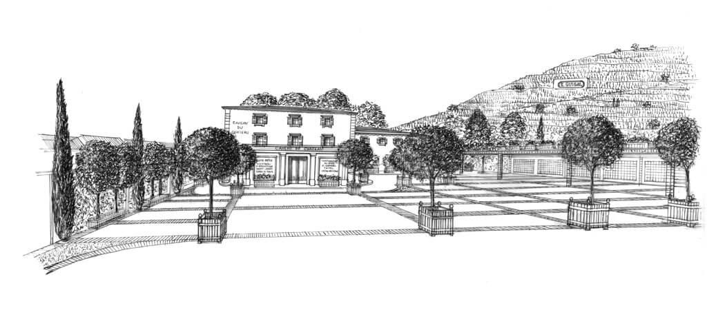 Anciennement le Clos Joly, dessin de la bâtisse devenue Caveau du Château Guigal