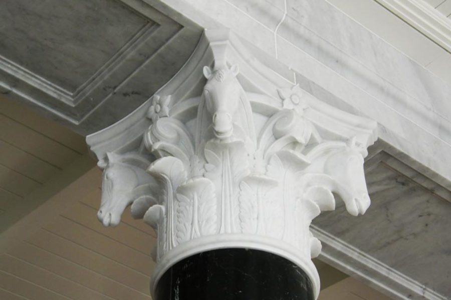 Decorative elements: fibrous plaster brackets and vases