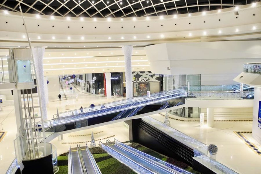 Fibrous plaster and mono acoustic ceilings in Leclerc malls